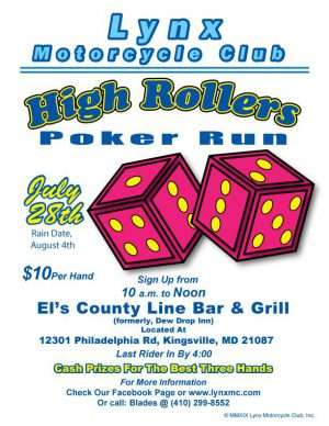 High Rollers Poker Run July 28 2019